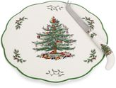 Spode Christmas Tree 9-Inch Cheese Plate with Knife