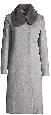 Cinzia Rocca Women's Mink Fur Collar Wool Coat