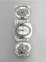 New York & Co. Floral-Embossed Silvertone Stretch Watch