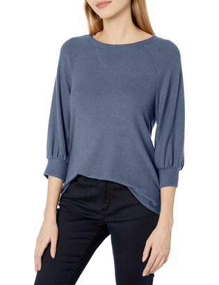 Tresics Women's Trendy Basic Junior 3/4 Bishop Sleeve Bow Back Pullover Top