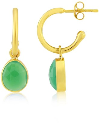 Auree Jewellery Manhattan Gold & Chrysoprase Interchangeable Gemstone Earrings