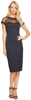 Maggy London Women's Illusion Cap-Sleeve Crepe Dress Navy 14