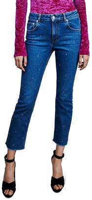 Maje Panna Embellished High-Rise Straight-Leg Jeans in Blue