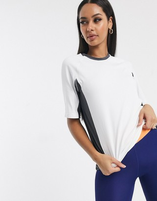 Asos 4505 T-shirt in colourblock with mesh back