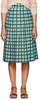 Barneys New York Women's Geometric-Print Crepe A-Line Skirt - Lt. Blue