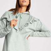 River Island Light blue frill chevron ribbed hoodie