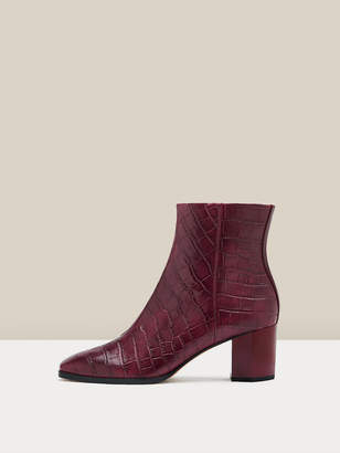 Diane von Furstenberg Thelma Embossed Croc Ankle Boots