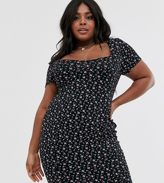 Daisy Street Plus mini dress with scoop neck in vintage ditsy floral print-Black