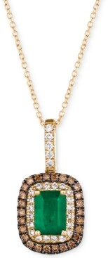 "LeVian Le Vian Emerald (3/4 ct. t.w.) & Diamond (3/8 ct. t.w.) 18"" Pendant Necklace in 14k Gold"