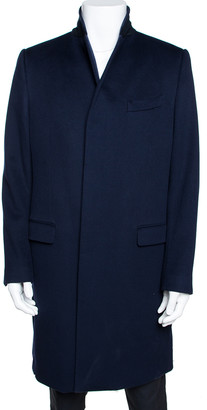 Dolce & Gabbana Navy Blue Felt Wool Three Button Peacoat L