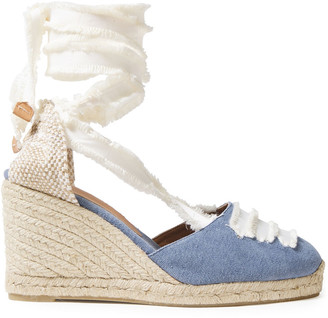 Castaner Frayed Lace-up Cotton-canvas Wedge Espadrilles