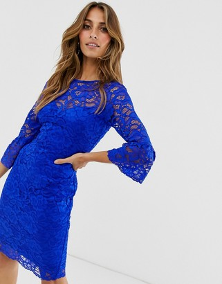 Paper Dolls lace dress with fluted sleeves-Blue