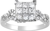 Stella Grace Lovemark 10k White Gold 1 Carat T.W. Diamond Square Ring