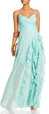 Aqua Metallic Print Ruffled Gown - 100% Exclusive
