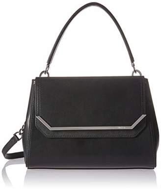 Calvin Klein Tessie Calf Split Leather Top Handle Flap Over Satchel