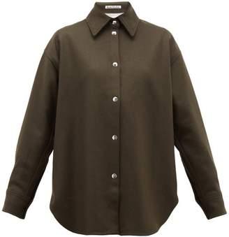 Acne Studios Sharwin Wool-blend Flannel Overshirt - Womens - Dark Green