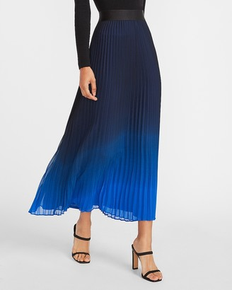 Express High Waisted Ombre Pleated Maxi Skirt