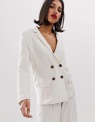Asos Design DESIGN gutsy linen relaxed blazer-Cream