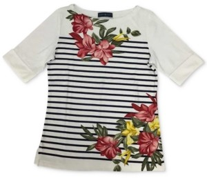 Karen Scott Plus Size Floral-Print Striped Top, Created for Macy's