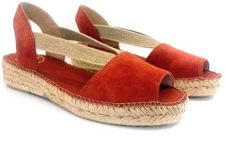 Toni Pons Brandy Suede Ella Peep-Toe Low Wedge Espadrille Sandals - 36/UK 3 | suede leather | rust | jute - Rust