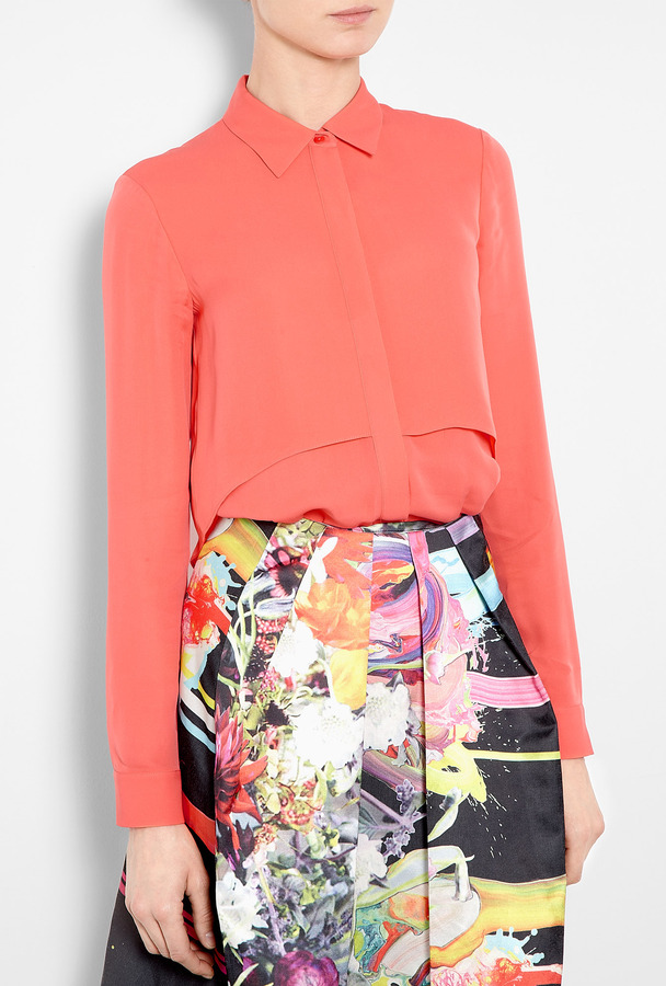 Theory Pink Rosita Double Georgette Silk Shirt
