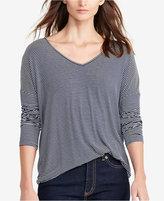 Lauren Ralph Lauren Striped Jersey V-Neck T-Shirt