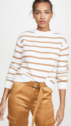 Vince Striped Waffle Stitch Crew Sweater
