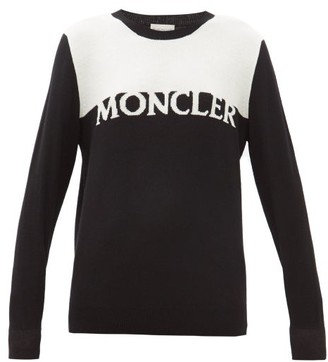 Moncler Logo-intarsia Wool-blend Sweater - Black White