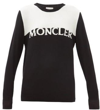 Moncler Logo-intarsia Wool-blend Sweater - Womens - Black White