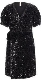 Y.A.S Sequella 2 4 Wrap Dress Black Sequin - XS