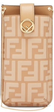 Fendi Ff-logo Embossed Leather Phone Pouch - Beige