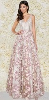 Mac Duggal Vintage Embroidered Striped Jacquard A-line Evening Dress