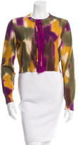 Oscar de la Renta Cropped Abstract Print Cardigan