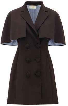 Sara Battaglia Cape-sleeve Crepe Blazer Dress - Black