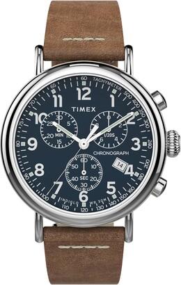 Timex Waterbury Standard Chronograph Leather Strap Watch, 41mm