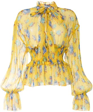MSGM Rose-Print Long-Sleeved Blouse