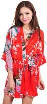 Honeystore Women's Japanese Kimono Silk Short Robe Peacock Nightgown Sleepwear M