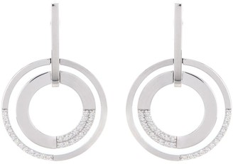 Breuning 14K White Gold Diamond Open Circle Dangle Earrings