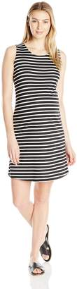 Three Seasons Maternity Women's Maternity Sleeveless Stripe Open Back Ponte Dress Black/White S
