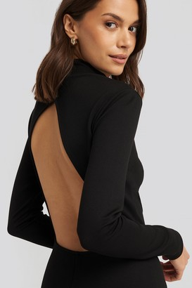 NA-KD Cut Out Back Long Sleeve Midi Dress Black