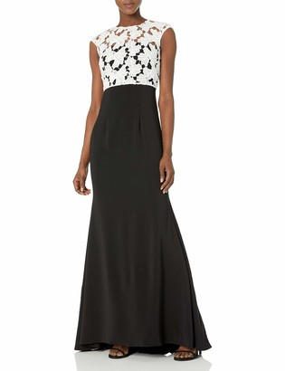 Carmen Marc Valvo Women's Crepe Strapless Gown W/Cap Sleeve Lace Popover
