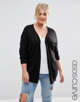 Asos Swing Cardigan with Gray Oval Elbow Patch