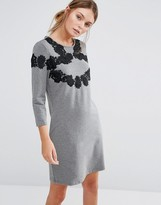 Girls On Film 3/4 Sleeve Shift Dress With Lace Detail