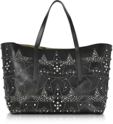 Jimmy Choo Pimlico Rock Black Leather Large Tote w/Graphic Star Studded Embellishment