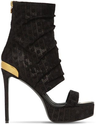 Balmain 125mm Patty Logo Suede Bootie Sandals