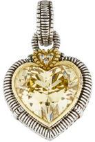 Judith Ripka Two-Tone Canary Crystal & Diamond Heart Pendant