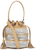 Loeffler Randall Women's Mini Industry Perforated Bucket Bag White/Silver/Natural