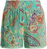 Etro Paisley-print silk-crepe shorts