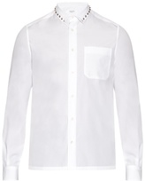 Valentino Rockstud-trimmed cotton-poplin shirt