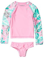 Speedo Kids Long Sleeve Print Rashguard Two-Piece (Little Kids) (Fuchsia Pink) Girl's Swimwear Sets